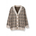 Autumn Fancy Long Sleeve Deep V-Neck Button Down Houndstooth Print Loose Fit Brown Knit Cardigan for Girls