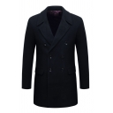 Classic Plain Black Long Sleeve Button Cuffs Double Breasted Wool Coat Longline Peacoat