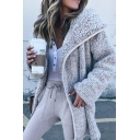 Trendy Street Ladies' Long Sleeve Hooded Zipper Front Pocket Side Sherpa Fleece Plain Midi Baggy Coat