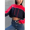 Trendy Girls' Long Sleeve Drawstring Contrasted Relaxed Fit Crop Hoodie