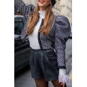 Cute Girls' Puff Sleeve Plaid Patterned Slim Fit Crop Open Front Jacket in Dark Blue
