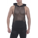 Black Sheer Fish Net Sleeveless Hooded Waistcoat Patched Pocket Hoodie for Men
