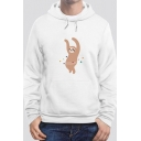 Mens White Lovely Sloth Pattern Long Sleeved Pullover Hoodie with Pouch Pocket