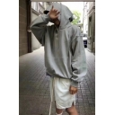 Simple Plain Grey Long Sleeve Exaggerated Fitness Sport Hoodie for Men
