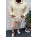 Metrosexual Men's Popular Solid Color Long Sleeve Fitted Lamb Wool Drawstring Hoodie