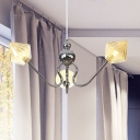 Diamond Shade Indoor Chandelier Pendant Light Amber/Clear Glass 3 Bulbs Industrial Hanging Fixture in Black/Chrome Finish