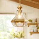 Clear Glass Teardrop Chandelier Lamp Colonial 3 Heads Foyer Pendant Light Fixture in Gold