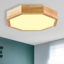 Octagon Living Room Flush Light Acrylic LED Contemporary Close to Ceiling Lighting Fixture in Wood