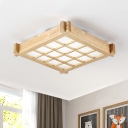Minimalist Square Wood Flush Mount Lighting 16.5