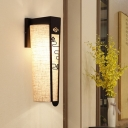 Traditionalism Trellis/Cloud/Linear Wall Mount Lamp 1 Head Metal Surface Wall Sconce with Fabric Shade in Black