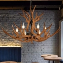 Candelabra Resin Pendant Chandelier Countryside 6 Bulbs Restaurant Hanging Light in Brown