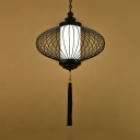 Fabric Black Pendant Lamp Lantern 1 Light Traditional Ceiling Hang Fixture for Living Room, 12