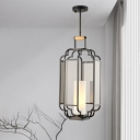 1 Bulb Ceiling Pendant Light Traditional Living Room Hanging Lamp with Cylinder Tan Glass Shade in Black, 8