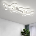Black Twist Ceiling Lamp Modern Acrylic LED Flush Mount Light Fixture in Warm/White Light