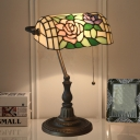 Rose Multicolored Stained Glass Banker Desk Lamp Victorian 1 Head Bronze Desk Light for Bedroom