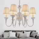 Modern Barrel Chandelier Lighting Fixture Metal 6 Lights Living Room Suspension Light in White