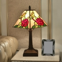 Pyramid Stained Glass Table Light Victorian 1 Head Red/Yellow/Blue Standing Light for Bedside