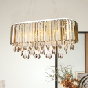 Modernism 6 Heads Ceiling Chandelier 1-Layer Suspended Lighting Fixture with Clear Crystal Shade
