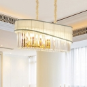 10 Bulbs Dining Room Island Light Modern Gold Suspended Lighting Fixture with 1-Tier Crystal Shade