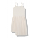Fashion Cute Sleeveless Asymmetric Plain Pleated A-Line Cami Dress for Girls