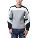 Simple Color Block Patchwork Long Sleeve Round Neck Relaxed Fit Pullover Sweatshirt