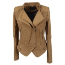 Camel Fashion Long Sleeve Exaggerate Collar Zipper Front Leather Patched Asymmetric Slim Fit Jacket for Female