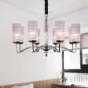 Dimpled Crystal Chrome Chandelier Lamp Cylinder 8 Heads Modern Pendant Light Fixture in Chrome