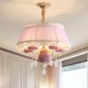 Candelabra Pendant Light Fixture Modernism Fabric 5 Heads Purple/Pink/Blue Chandelier Lighting Fixture