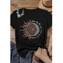 Cool Unique Roll Tab Sleeve Crew Neck Letter LIVE BY THE SUN LOVE BY THE MOON Sun and Moon Print Loose Tee for Girls