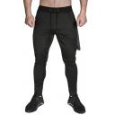 Men's Gym Sport Plain Drawstring Waist Feet Pants Jogger Training Sweatpants with Towel Loop