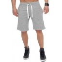 Mens Cool Solid Color Drawstring Waist Loose Sports Shorts for Summer