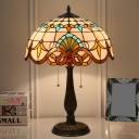 Antique Brass 1 Head Table Lamp Victorian Stained Glass Dome Task Light with Pull Chain Switch