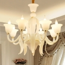 Curvy Arm Chandelier Lighting Antique White Glass 6/8/10 Bulbs Ceiling Pendant Light for Bedroom