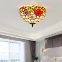 2/3 Heads Ceiling Lighting Tiffany Blossom Handcrafted Art Glass Flush Light Fixture in Bronze