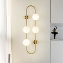 4 Lights Bubble Sconce Lighting Mid Century Style Opal Glass Wall Light for Bedroom