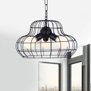 Black 3 Lights Pendant Lighting Industrial Metal Pear Chandelier for Living Room