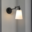 1 Light Living Room Sconce Vintage Style Black Wall Light with Tapered Cream Glass Shade