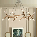 Contemporary Tube Chandelier Lamp Metal 20 Heads Dining Room Hanging Light in Gold