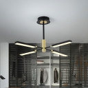 Starburst Acrylic Hanging Chandelier Modernism 4/6 Lights Black and Gold/White and Gold Pendant Lighting