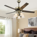 Vintage Bloom Ceiling Fan 5 Lights Milk Glass Semi Flush Light in Brass, Remote/Remote and Wall Control