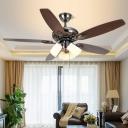 Rectangle Living Room Ceiling Fan Lighting Retro Satin Opal Glass 3 Bulbs Black Semi Flush Light
