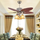 Wooden Leaf-Shaped Ceiling Fan Lighting Retro 3 Bulbs Living Room Semi Flush Mount Light in Silver
