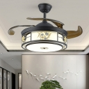 Acrylic Black Ceiling Fan Lighting Drum LED Traditionalist Semi Flush Mount, Wall/Remote Control/Frequency Conversion