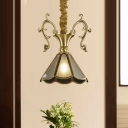 Scallop Dining Room Ceiling Pendant Colonial Seeded Glass 1 Head Brass Hanging Light Fixture