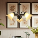 Black Bloom Hanging Chandelier Vintage Milky Glass 3/5/6 Lights Living Room Ceiling Pendant