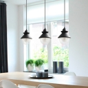 Cone Hanging Lamp Simple Metal 1 Light Black Suspension Pendant with Clear Glass Shade