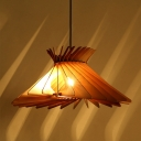 South-East Asia Hat Pendant Lighting Wood 1 Bulb Hanging Light Fixture in Beige for Living Room