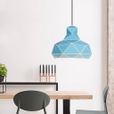 Domed Hanging Light Nordic Metal 1 Bulb Pink/White/Blue Ceiling Suspension Lamp, 12