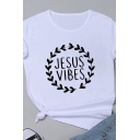 Casual Letter JESUS VIBES Printed Short Sleeve Round Neck Basic T-Shirt for Women
