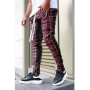 Mens Trendy Side Stripe Checked Pattern Zipper Pocket Skinny Fit Pencil Pants